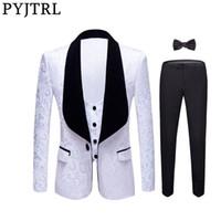 Pyjtrl Новые 4 штуки набор свадебный жених срабатывает отворот Жаккардовый смокинг розовый желтый черный красный чистый белый тонкий подходит для выпускного вечера платья костюма мужчин 201105