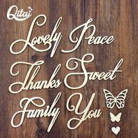 Objetos decorativos figuras qitai 28 pcs / lote de alta qualidade palavra de madeira família obrigado adorável doce você oco borboleta criativa casa decorati