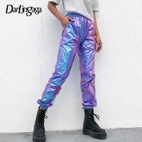 Darlingaga Hip Hop Holografik Yüksek Bel Pantolon Kadın Joggers Streetwear Dans Parçası Pantolon Pantolon Elastik Yaz Alt Y200113
