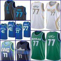 77 Doncic Jersey Basketball Luka Dirk 41 Nowitzki Kristaps 6 Porzingis Jersey Men 2021 New Temporada Hombres Julius 30 Randle