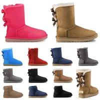 mulheres botas de neve baratos triplo castanha preto rosa azul marinho cinza clássico da moda tornozelo curto inicialização das mulheres botas de inverno sapatos tamanho 5-10