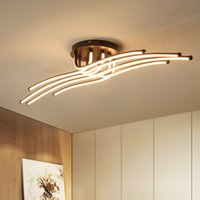 New Arrival RC Modern Led Ceiling Lights For Living Room Bedroom Study Room Coffee Color Dimmable Ceiling Lamp Fixtures