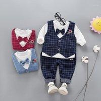 Giyim Setleri Hylkidhuose 2021 Sonbahar Erkek Set Beyli Aslan Tarzı Çocuk Giysileri Takım Elbise Yelek T Gömlek Pantolon Rahat Bebek Bebek Clothes1