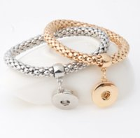 Dichiarazione gioielli bottone bottone braccialetto fascino interchangeablesnap gioielli noosa chunk 18mm bottone in metallo elastico PS2786