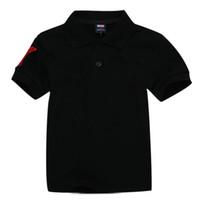 Enfants Polos T-shirt Enfants Revers manches courtes Bébé Polos T-shirt Garçons Tops Vêtements Broderie Tees Girl Coton T Shirts 8889Black