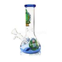 Rick Morty Bong 8 pollici Tall Klein DAB Rig in vetro Klein Pan per impiadie di riciclaio per il fumo dell'acqua 14mm FY2334