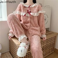 Женские трексуиты Joinyouth 2 Piece Outfits для женских брюк и верхняя мода спортивной костюм Корейский повседневный толстый теплый домашний костюм два набор