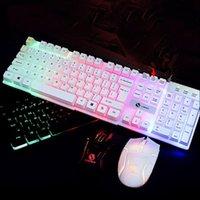 1 Set LED Backlight Mecânica Sinta Gaming Keyboard e rato com fios Combo Set Luz LED para computador PC
