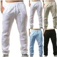 Pantalon d'été hommes hommes pantalons de coton Linho Verao Calca Dos Homens com Cordao Pantalon de linge en lâche Harem Link Pants1