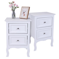2pcs Country Style Two- Tier Night Tables Large Size White