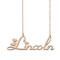 Lincoln name necklaces pendant Custom Personalized for women girls children best friends Mothers Gifts 18k gold plated Stainless steel