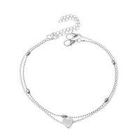 S1418 Hot Fashion Jewelry Double Layer Heart Heart Catena Catena in lega perline Braccialetto per caviglia Braccialetto Beach A SQCUMM HOMES2007
