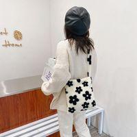 Casual Autumn Flower Printed Shoulder Underarm Bag Women Plush Soft Fluffy Handbag Street Travel Top-handle Clutch Purse
