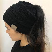 Kadınlar Beanie At Kuyruğu Şapka Lady Beanie Kuyruk Dağınık Yumuşak Bun Örme Kap Kafatası Sıkı Kış Sıcak Sıkı Örgü Şapkalar Aksesuarları