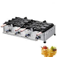 パンメーカージャミエリンガスアイスクリームオープンマウスフィッシュシェイプワッフルメーカー機/ LPG商業太陽メイカーメーカー1
