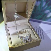 CLSSSICO nuevo joyería de lujo 925 plata esterlina marquesa corte blanco topacio diamante piedras preciosas mariposa colgante mujer collar de clavícula