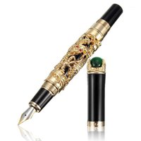 Hot-Jinhao 18KGP 0.5mm Gold Dragon Dragon Fontana Pen Fontana Pen1