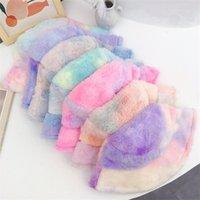 Moda NUEVO Sombrero de Cubo de Peluche para Mujeres Muchacha Rainbow Tie Dye Soft Warm Fishman Cap Winter Lady regalos 6 colores 349 J2