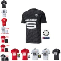 Rennes 20 21 Stade Rennais FC Maillots de football loin Niang BOURIGEAUD Terrier 2020 2021 de pied Camavinga maillot manches courtes Hommes + Enfant maillots de football