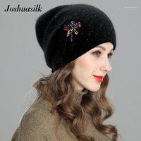 Шапочки / черепные колпачки Joshuasilk осенью и зимняя женская шляпа двойной теплый вязаный шерсть аннгора дракокозно украшение камня для девочек1