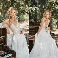 Inbal Raviv 2021 Boho robes de mariée en mousseline de soie dentelle au crochet Flowing Flare grecque Déesse plage robe de mariée bohème Custom Made mariage Robes
