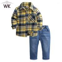 소년 가을 의류 1-6 트 어린이 의류 세트 소년 긴 소매 격자 무늬 셔츠 + 청바지 패션 데님 바지 정장 JT-3561