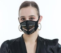 Women's Rhinestone Fashionable Face Mask Sparkle Fabric Washable Reusable Face Cover Nightclub Party Bling masks Winter Warm Wearing black