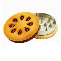 마른 허브 그라인더 쿠키 비스킷 햄버거 스타일 금속 아연 합금 2 조각 담배 분쇄기 그라인더 햄버거 모양