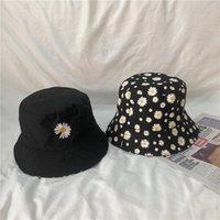 ワイドブリム帽子ダブルフェイスバケツ帽子デイジーフラワープリント旅行サンキャップ女性春夏屋外折りたたみ式女性Sunbinnet Visor 2021