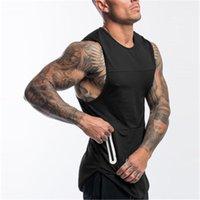 تشغيل الفانيلة (يمكن أن تضيف الخاصة بك) الرجال كمال الاجسام القطن تانك الأعلى رياضة اللياقة البدنية أكمام قميص الأزياء القميص سترة undershirt 4 color1