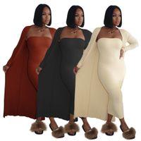단일 칼라 튜브 탑 높은 스트레치 매력적인 섹시한 두 조각 여성 의류 대형 코트 브래지어 드레스를 꽉 끼는 새로운 패션 여성의 드레스