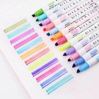 12 Renkler / Set Sevimli Japon Kırtasiye Süt Liner Çift Başlı Floresan Kalem Milkliner Vurgulayıcı Kalem Çizim Marker Kalemler 201102