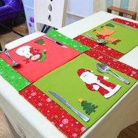 Новогодние вечеринки декор кухня обеденные столовые коврики ткань столовая салфетка снеговика Санта-Клаус лось узор рождественские декоративные метки1