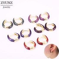 4 paia, nuovo orecchino in rame Zircone cubico multicolore Zircone rotondo per le donne / ragazze Fashion Party Jewelry Hoop orecchino Gifting1
