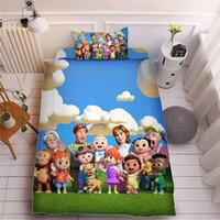 Cocomelon جي 3d المطبوعة ورقة السرير ثلاث قطع مجموعات وسادة القضية + ورقة السرير + غطاء لحاف الفراش جميل الاطفال cocomelon لوازم LY118A