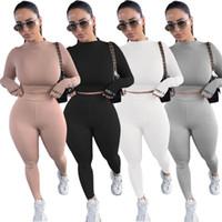 Мода Женщины 2 шт. Спортивная одежда Основная тощая трексейозная сплошная вскользь две части штаны, установленные в 4 цвета