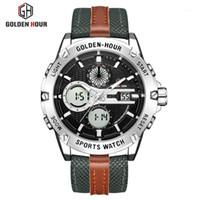 Montre-bracelets Goldenhour Mens Watch à Hommes Cuir Sports Montres Hommes Quartz LED Horloge numérique Horlar à imperméabiliser1