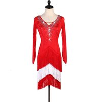 Stage Wear Shiny Strass Strass Latin Dance Dress Dress Donne Sexy Red V Neck Manica lunga Gonna Fringed Gonna Festival Festival Abbigliamento Abbigliamento