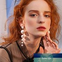 Moda elegante creado grandes pendientes simulados Pendientes largos perlas Declaración de cadena Pendientes Pendientes