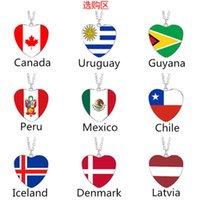 Europa und Amerika Liebe Flagge Halskette Kanada Uruguay Guyana Chile Dänemark Lettland Mexiko Island Peruanische Flagge Anhänger
