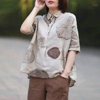 Fje Neue Sommer Frauen Shirts Plus Size Kurzarm Vintage Baumwolle Leinen Blusen Paisley Drucken Lose Beiläufige Hemd Dame Tops P121