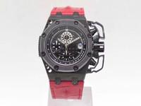 Cadena automática Chronograph Movimiento Protección antimagnética Dispositivo de aleación de titanio Caso de aleación de titanio 42mm Diámetro Hojadoado. Dial de cerámica Espejo Rubí
