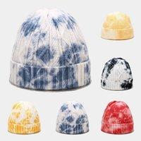 new tie-dye knitted hat street trend wool yarn melon skin warm beanbean hat 5 colors two styles are optional