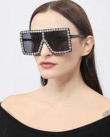 선글라스 2021 대형 사각형 다채로운 다이아몬드 여성 큰 프레임 럭셔리 크리스탈 태양 안경 여성 라인 석 안경 UV400