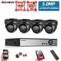 Ahcvbivn H.265 + 4CH AI كشف الوجه 5MP poe IP قبة نظام كاميرا أطقم للماء cctv الأمن مراقبة الفيديو set1