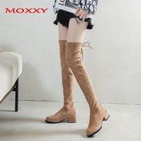 Moxxy 2020 Sonbahar Diz Çizmeleri Üzerinde Kadın Ayakkabı Siyah Akın Boots Kadınlar Seksi Topuklu Haki Uyluk Yüksek Artı Boyutu 35-411