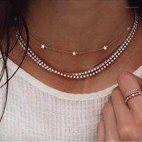 Alyxuy Модный Золотой Цвет Choker Ожерелье Короткие Многослойные Кристаллические Звезды Подвеска Цепи Ожерелье Для Женщин Мода Ювелирные Изделия1