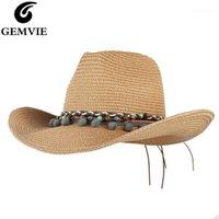 Ampla borda chapéus Gemvie verão para mulheres Outback chapéu de palha homens homens western cowboy panamam sol praia cap 2021 1