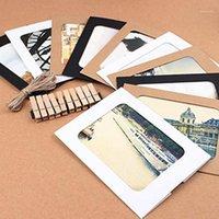 10 إطارات الصور مع كليب حبل ريترو جلد البقر شنقا ورقة المنزل إطار الصورة مزيج الديكور Z0Z61