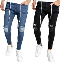 Homme Skiny's Skinny Brodé Hole Jeans Slim Fit Stretch Tratie Ancienne Pantalon Denim Pantalon Pantalon Biker